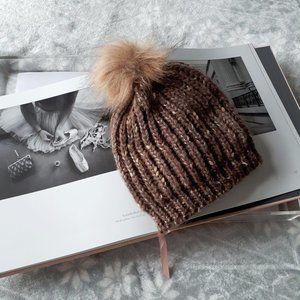 Brown & metallic thread knit pom pom beanie hat